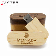 JASTER customer LOGO rotatable Wooden USB Flash Drive Pendrive Memory Stick pen drive 4GB 8GB 16GB 32GB wedding gift