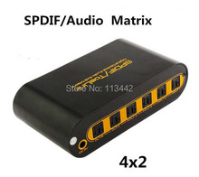 Spdif / Toslink Optical Digital Audio 4x2 True Matrix Switch with Remote Control up to 40m