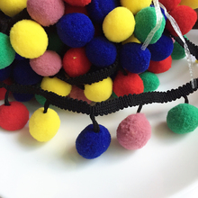 Big Pompom Balls Approx 25mm Lace Trim Clothing Sewing Fabric Decoration Fringe Balls DIY Craft Material 1 Yard(China)