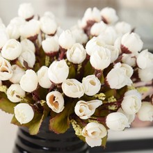 Artificial Flowers 15 Flower Heads Artificial Camellia Flowers Floral Bouquet Garden Party Decor Home Table Coffee Table Decor