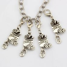 Hot Sale ! 10pcs Antique Silver Alloy cookies Charm With lobster clasp Fit Charm Bracelet DIY Jewelry 13 x 41mm  nm363