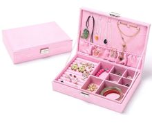 hot Velvet Large Capacity Studs Earrings Rings Necklace Storage Case organizers Jewelry Box makeup box 669-A8