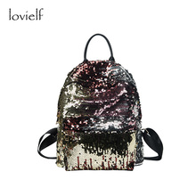 lovielf NEW Special Creative design Women Men Girl Boy Bling Spangled paillette Travel Book School bags Backpack