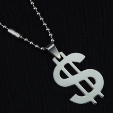 1pcs Mixed Stainless Steel Dollar Pendant Necklace Titanium Steel banknote currency Free Bead Chain