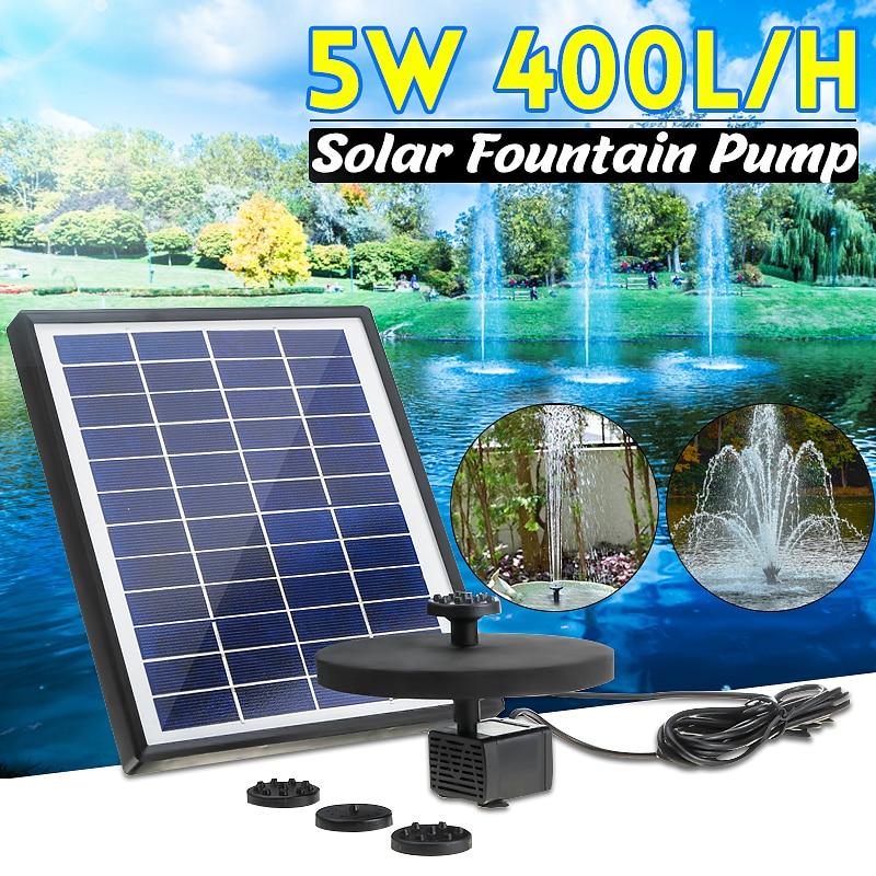 5W 400L//H Solar Panel Powered Water Pump Garden Pool Pond Fish Aquarium Fountain