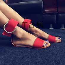 Soft Leather Gladiator Sandals Women Boots 2016 Fashion Open Toe Ankle Strap Shoes Woman Casual Flats Sandalias Mujer Size 42