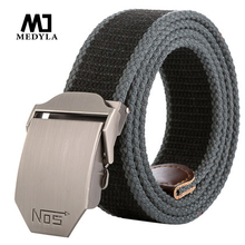 2017 New Arrival Real Striped Adult Fashion Men Free Leather Belt Ultra Long 140 Canvas Belt Man Automatic Buckle Strap Knitted(China)
