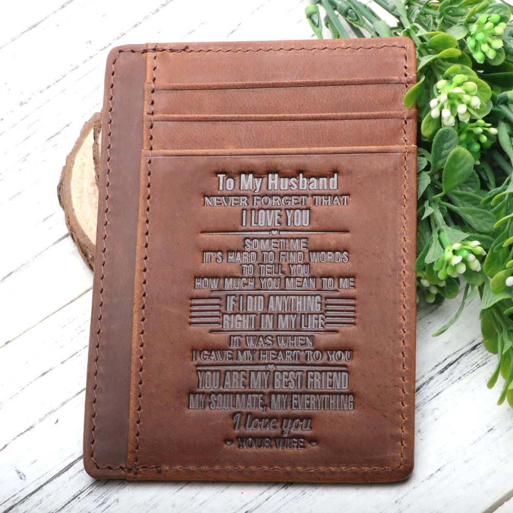To My Son Wallet Engraved Leather Slim Front Pocket Card Holder Personalize Gift