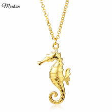 Buy MQCHUN Gold Color Seahorse Hippocampus Chain Necklace Animal Metal Long Statement Pendant Women Girl Charm Choker Gift for $1.46 in AliExpress store