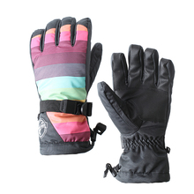 Women's colorful streak ski gloves female skiing snowboard gloves touch screen design waterproof riding cycling climbing gloves