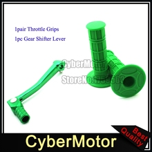 Green Gear Shifter Lever Throttle Handle Grips For Chinese Pit Dirt Bike 50 90 110 125 150 160 cc Lifan YX XR CRF KLX110 SSR(China)