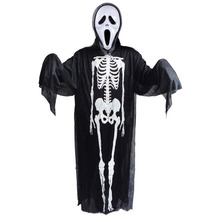 Scary Skull Skeleton Ghost Clothes+Skull Devil Mask Set Cosplay Halloween Costume Supplies JL
