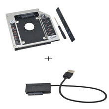 Universal Aluminum 2nd HDD Caddy 12.7mm SATA 3.0 HDD Box For 2.5''7/ 9/9.5/12.5mm SSD DVD-ROM Optibay + USB to SATA Cable(China)