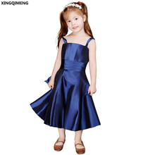 Navy Blue Flower Girl Dresses Cheap Simple Bow First Holy Communion Dresses Little Ladies Gown Lovely vestido de daminha(China)