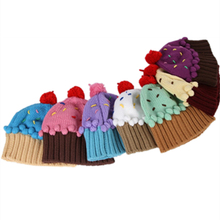same style 2017 New Winter kids hat Lovely cupcakes modelling children embroidery cake ice cream hat knitted hat Winter warm Cap(China)