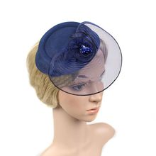 Work Well Woemn Bride Bridesmaid Nylon Hat Hair Clip Headdress Flower Headwear HairPin for Banquet Party Dress