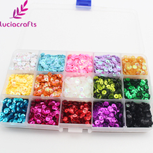 Lucia crafts 5mm Mix Color Flake Rainbow Cup 3D Sequin for Clothing Accssory DIY Art 1 box/lot(Approx 1000pcs) 24010058(5HS1box)(China)
