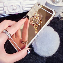 Fashion Mirror Rabbit Fur Ball Tassel Cover Metal Ring Plush Phone Cases For Samsung S3 S4 S5 S6 S6 Edge S7 S7 Edge Note 3/4/5