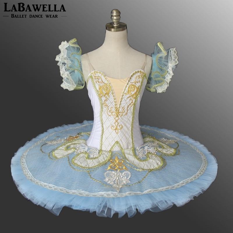 Adult Competiton Performance Ballerina Tutu Women White Blue Roymanda Paquita Platter Professional Stage Costume Tutus BT9097B