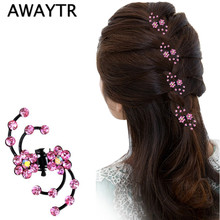 AWAYTR Hair Claw Clip 6Pcs/Lot Hot Sale Shiny Sweet Exquisite Rhinestone Plum Flower Hair Claws Hair Jewelry Accessories(China)