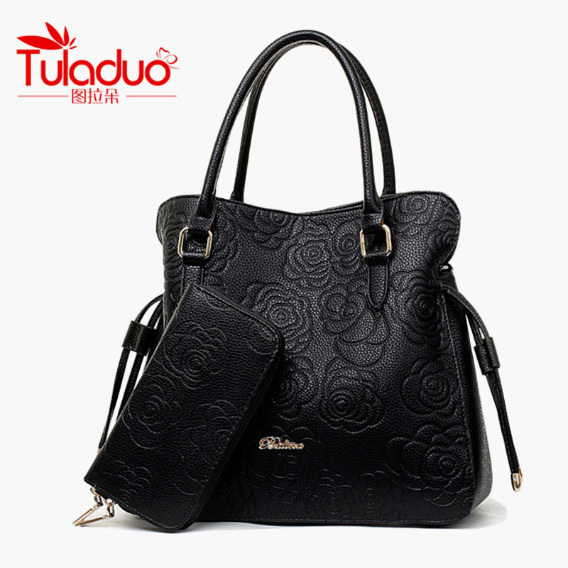 New Fashion Leather Womens Handbags With Purse Famous Brand TuLaDuo Ladies Shoulder Bags High Quality Print Rose Composite Bag<br><br>Aliexpress