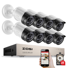 ZOSI HD-TVI 8CH 1080P 2.0MP Security Cameras System 8*1080P 2000TVL Day Night Vision CCTV Home Security 2TB HDD(China)