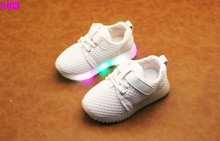 2017 ECN BRAND led glowing luminous sneakers childrens canvas sport shoes girls boys casual flat shoes mesh(China)