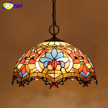 FUMAT Stained Glass Lamp European Style Art Glass Lampshade Pendant Lights Living Room Hotel Bar Kitchen Light Fixtures LED(China)