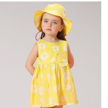 Kids Grils Flower Cute yellow princess  2017 Spring/Summer baby Daisy printed love vest dress sand beach Cotton Baby dress