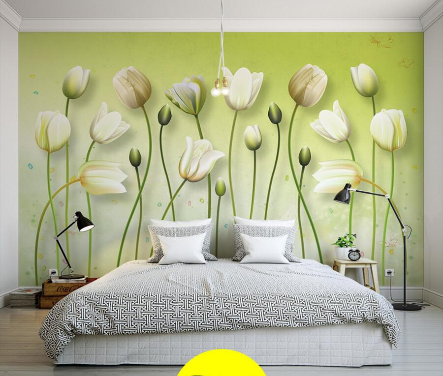 Latest Pure and fresh lilies painting 3d modern wallpaper murals,living room tv sofa wall children bedroom papel de parede<br>