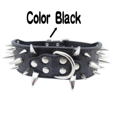 Large dog collars Black Pink Purple Brown Leather Material Size M L XL spiked dog collars for pitbulls Wholesale