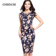 Women Summer Pencil Dress Vintage Ladies Office Dresses Work Wear Sleeveless O Neck Plus Size Knee Length Evening Vestidos S293