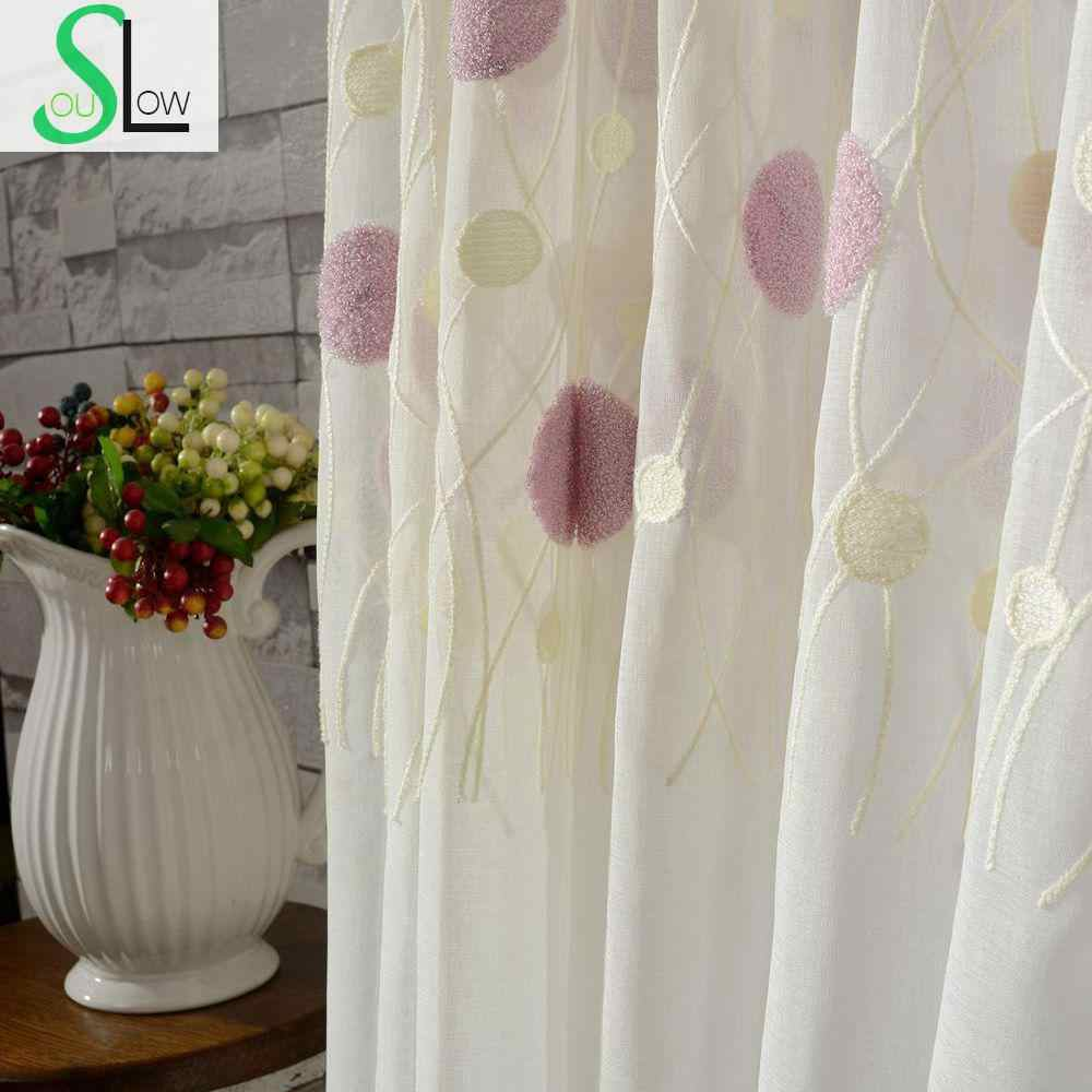 Dream Bubble Embroidery Curtain Cotton French Window Pastoral Sheer Curtains Tulle Living Room Bedroom Kids Modern Children