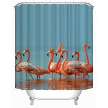 Urijk 1PC Flamingo 3D Shower Curtains Shower Print Flower Bathroom Curtain Waterproof Decoration Accessories Europe Style(China)