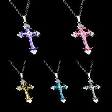 Christian Cross Pendant Necklace Cool Three Layers Stainless Steel Titanium Necklaces Fashion Men Jewelry Accessories Y3