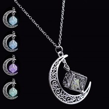 Buy Fashion Jewelry Silver Plated Chain Moon Luminous Necklaces & Pendants Glowing Dark Statement Necklace Women Necklace Choker for $1.89 in AliExpress store