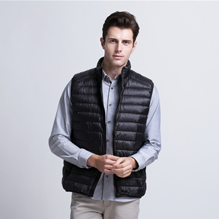 Men's ultra thin weightlight white down vests waistcoats men stand collar sleeveless jacket autumn and winter free shipping g982