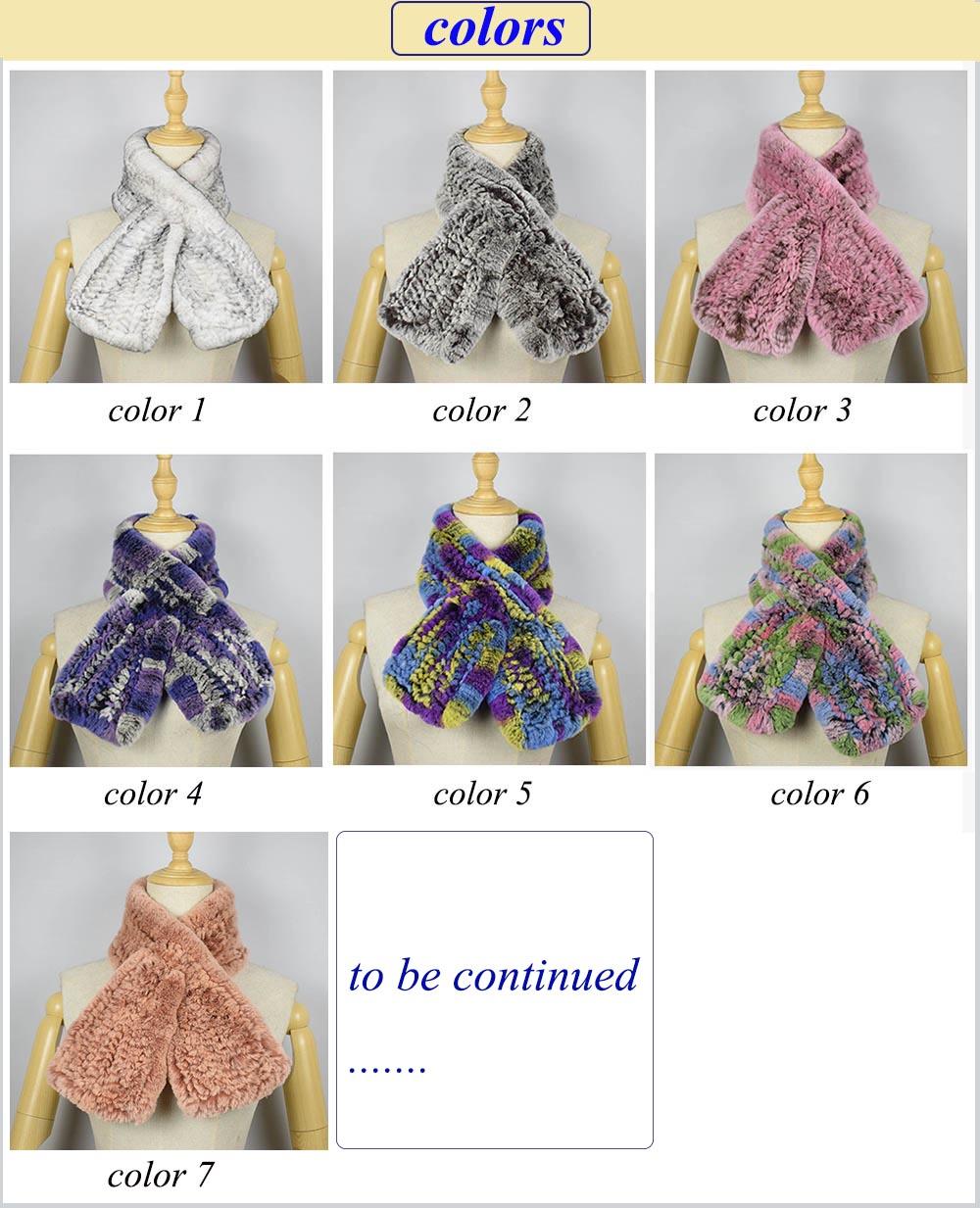 rex rabbit fur scarf short colors