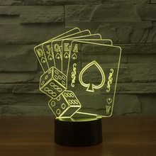 Creative Dimmer Color Change 3D Lamp Poker Cards Game Playing USB LED Lighting Bedroom Decorative Night Light Christmas Gift(China)