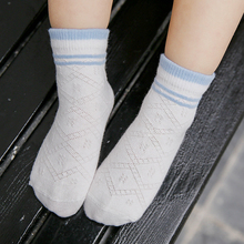 3pairs=6pieces per lot Summer new baby socks cotton two-color lattice children kids boys girls candy color striped mesh socks