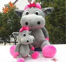 big lovely cow plush toy sitting gray cow stuffed doll big mouth cow toy birthday gift about 100cm