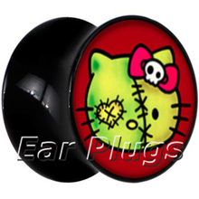 60pcs wholesale ear expander saddle flesh tunnel hello kitty picture ear plug gauges body jewelry mix 10 sizes ASP004