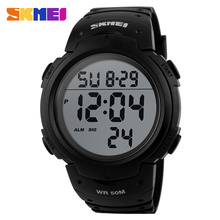 SKMEI Outdoor Sports Watches Men Running Big Dial Digital Wristwatches Chronograph PU Strap 50M Waterproof Watch 1068(China)