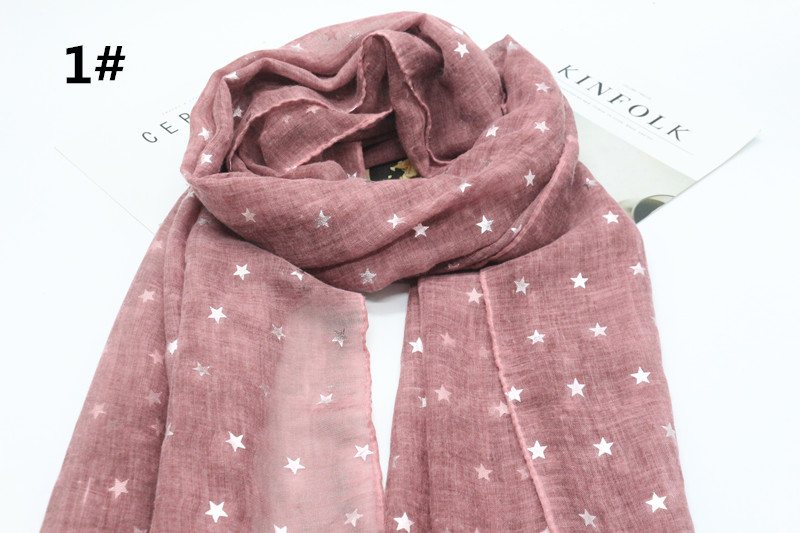 2017 New style star print solid 8color scarf women viscose cotton pashmina bandana muslim geometry echarpe wraps muffler 10/lot