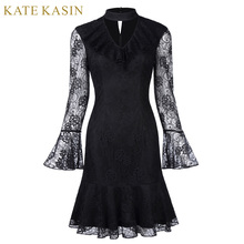 Kate Kasin Short Cocktail Dresses 2017 Black Long Sleeve Formal Prom Knee Length Lace Mermaid Cocktail Party Dress Vestidos(China)