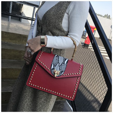 Botom Fashion classic style embroidery rivet letters bamboo ladies handbag casual totes shoulder bag crossbody messenger bag pur(China)