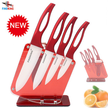 """FINDKING Beauty Gifts Zirconia red handle Ceramic Knife with holder kitchen Set 3"""" 4"""" 5"""" 6"""" inch+ Peeler+Holder kitchen knife"""