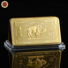 WR 24k 999.9 Gold Plated Gold Bar Quality 1 Bullion 999 Fine Metal Bars Art Crafts with Plastic Case for Collection