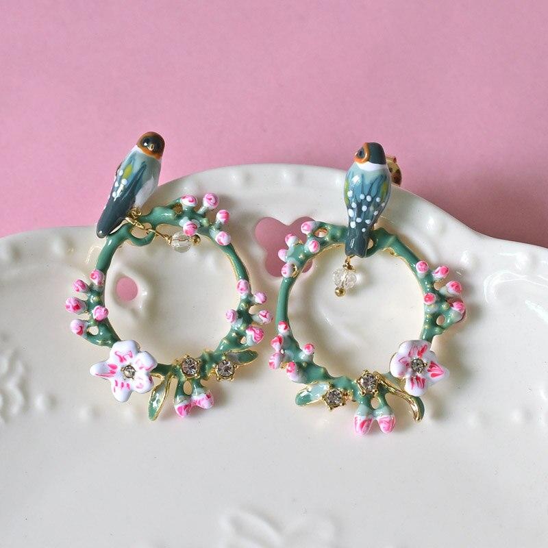 Warmhome Trendy Jewelry Enamel Glaze Cherry Blossoms Flower Bird Bracelet For Women Earrings