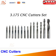 14pcs 3.175 mm  CNC Engraver Cutter Graver Carving Knife for PVC,Wood,Acryl ,MDF,ABS Material Cutting